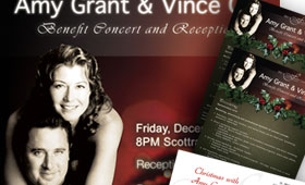 Amy Grant and Vince Gill Holiday Benefit Concert and Reception Poster/Donation Sheets and Thank You Cards